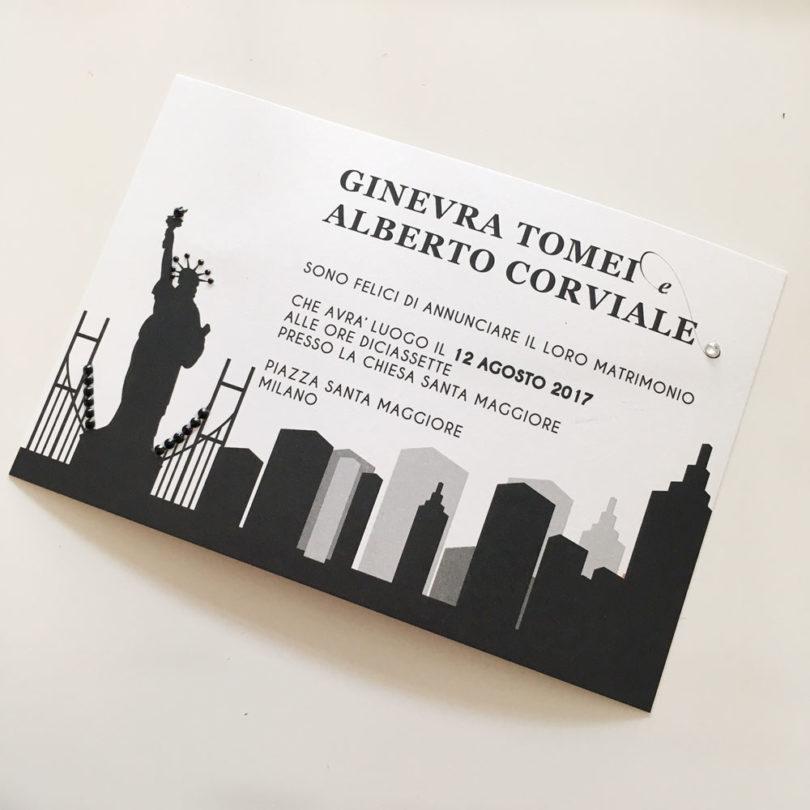 Segnaposto Matrimonio Tema New York.Partecipazione City Partecipazioni Nozze Fm Wedding Day Monza