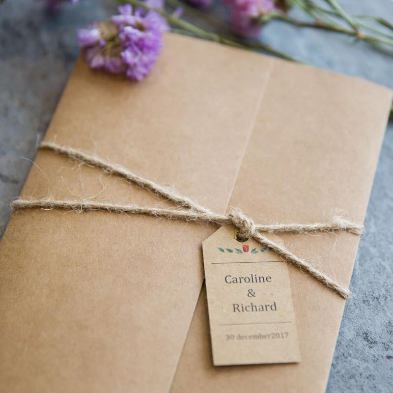 Partecipazioni Matrimonio Carta Kraft.Partecipazione Margherita Matrimonio Rustico Fm Wedding Day Monza